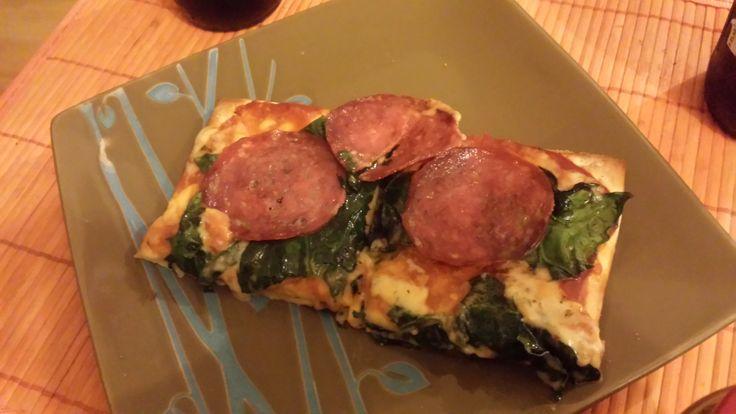 #Pizza de Espinaca y Salame #BayCooking #ideasParaElAlmuerzo
