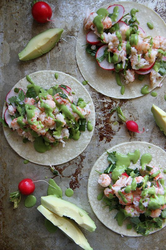 Lobster Tacos with Green Onion Sauce | Heather Christo