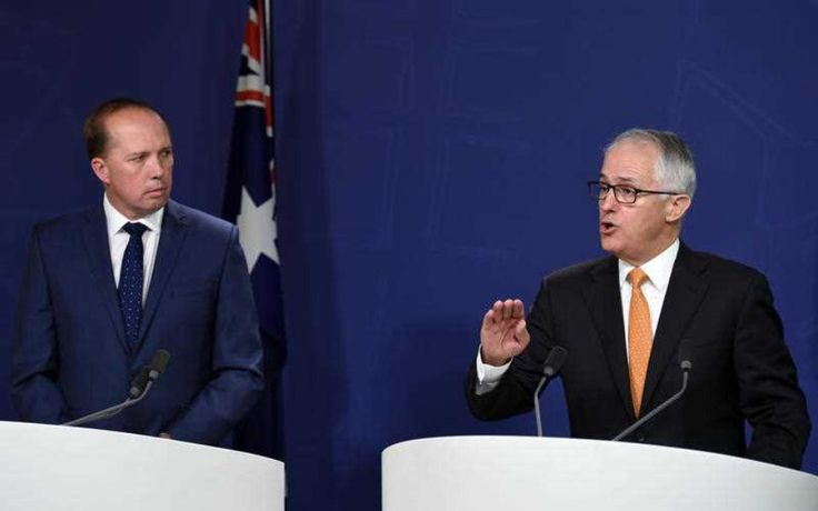 After he held a news conference with Immigration Minister Peter Dutton, Malcolm Turnbull briefed Bill Shorten on the government's new refugee laws.