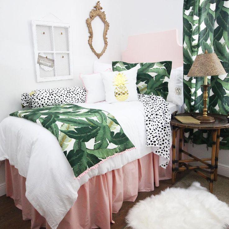 Talk to the Palm  . . #dorm #dormlife #dormroom #dormmates #dormdecor #dormsweetdorm #dormitorylife #dormitory #dormbedding #college #customdormbedding #palm #palmleaf #palmleafprint #tropical #tropicaldecor #roomie #roomies #roomielove #roomiegoals #roomideas #dormideas #dormgoals #dormroomdecor