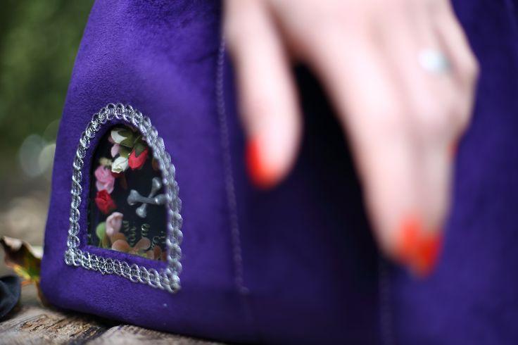 Vita Occulta velvet handbag with a miniature altar http://vitaocculta.com/handbags/handbags-violet-and-silver.htm