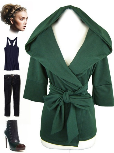 Extra Large EVERGREEN HOODED Wrap Across SLOUCHY Cardigan JACKET w/Attached Belt | eBay