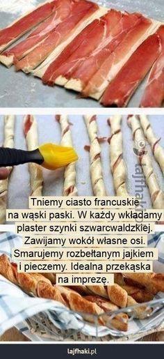 Zawijasy z szynką na imprezę - Tniemy ciasto francuskie na wąski paski. W każdy wkładamy plaster szynki szwarcwaldzkiej. Zawijamy wokół własne osi. Smarujemy rozbełtanym jajkiem  i pieczemy. Idealna przekąska na imprezę.