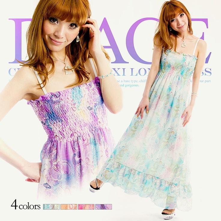 [全3色]大人可愛い華やかプリント♪マキシロングドレス