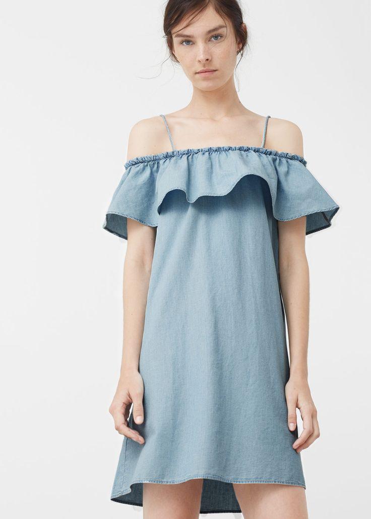 Robe denim volantée - Robes pour Femme | MANGO Canada