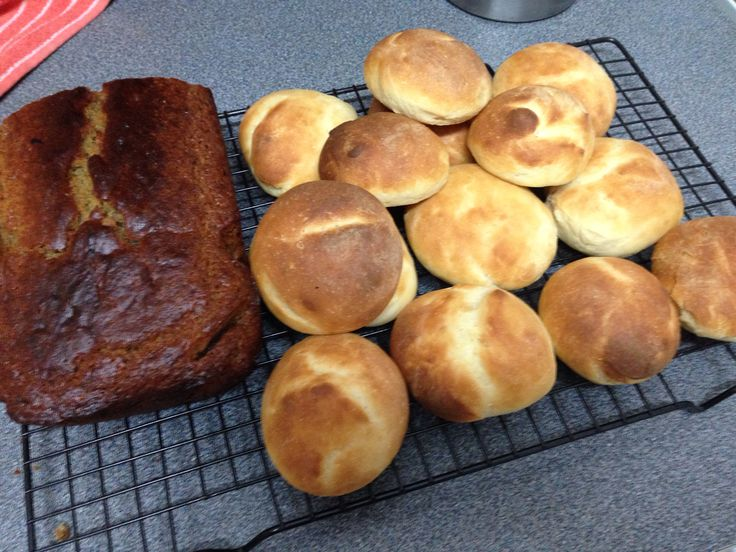 Soft bread rolls and what was left of the banana bread - It hadn't even had a chance to cool!