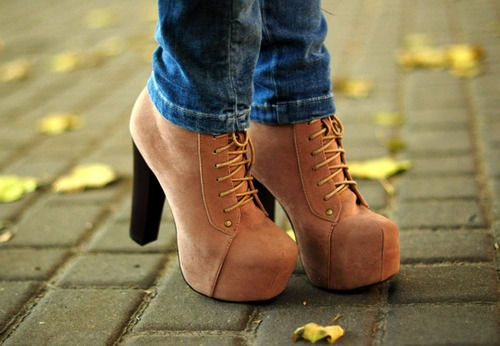 : Autumn Fashion, High Heels Boots, Fall Shoes, Ankle Boots, Blocks Heels, Boots Heels, Jeffrey Campbell, Brown Boots, Cowboys Boots