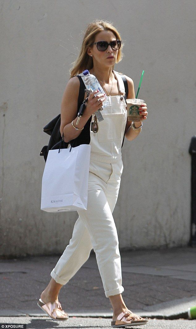 Looking good: Rachel Stevens was perfectly on-trend when she wore a pair of white, denim d...