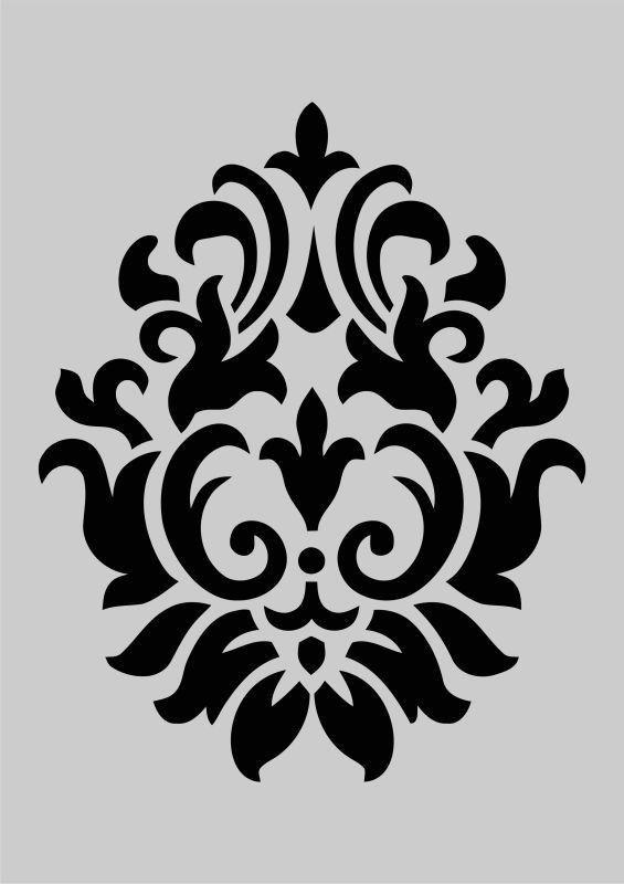 Pin By Vilma Diaz On زخارف نباتية In 2020 Shabby Chic Stencils Stencils Wall Damask Stencil