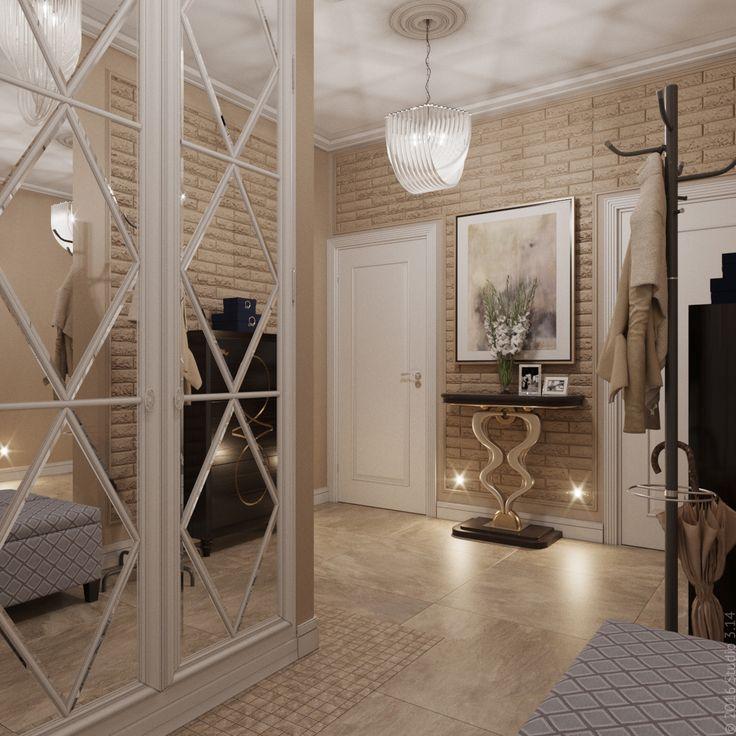 """Прихожая в трехкомнатной квартире, проект """"Под сенью уюта"""". Зерклальный шкаф с узором на дверцах."""