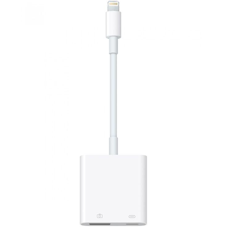 Apple Cable Lightning USB 3 Adaptador para Cámara; Usa este adaptador para importar fotos y videos desde una cámara digital a tu iPad con pantalla Retina o iPad mini con conector Lightning. El adaptador Lightning a USB para cámara es compatible con format