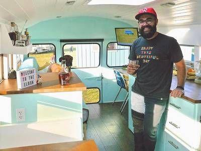 Bartender & filmmaker's short bus conversion features roof deck & mini-bar (Video)