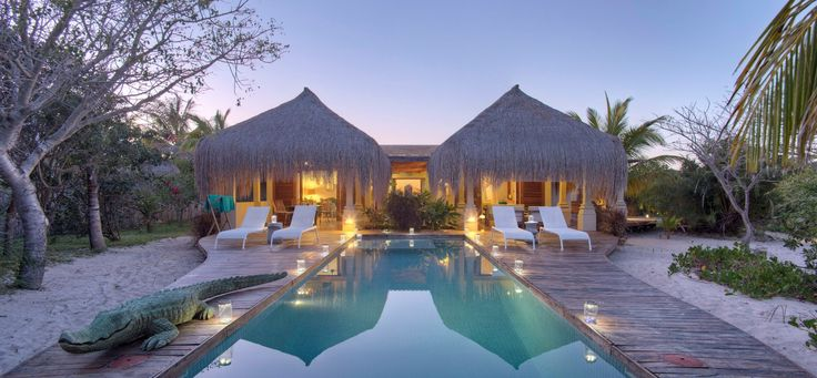 Striking symmetry at the Azura Island Benguerra Lodge in Southern Mozambique. Tropical paradise!