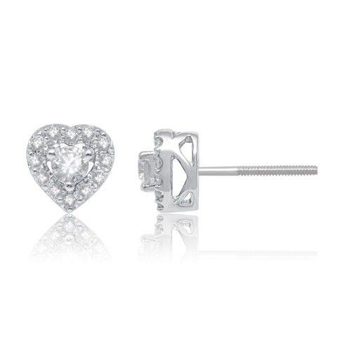 10k White Gold Heart Shaped Diamond Stud Earrings (1/20 Ct.Tw )