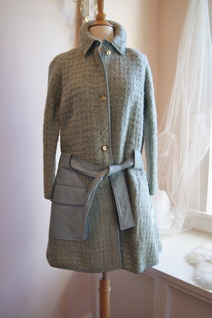 Bonnie Cashin Wool boucle coat with leather pockets and trim ~ Xtabay Vintage Clothing Boutique - Portland, Oregon