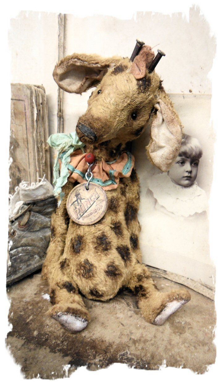 "One of a Kind""PUNCH"" - Old Circus Giraffe handmade by Wendy Meagher of Whendi's Bears - An Original ONE OF A KIND DESIGN  *** Aprrox. 10"" Tall (10.5 to tip of horns) - Antique Style Old Aged Juraf with vintage textile collar, antique square head nails for horns and vintage poker chip charm.....all hand tinted markings!If you like antique toys then you won't be disappointed in this piece! He looks and feels like an antique toy ....so wonderful to h..."