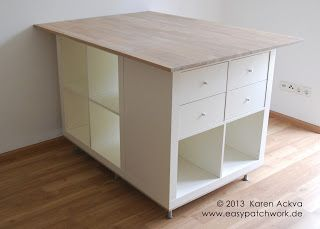 easypatchwork: new customized sewing room cutting table....would be perfect with wheels!!!