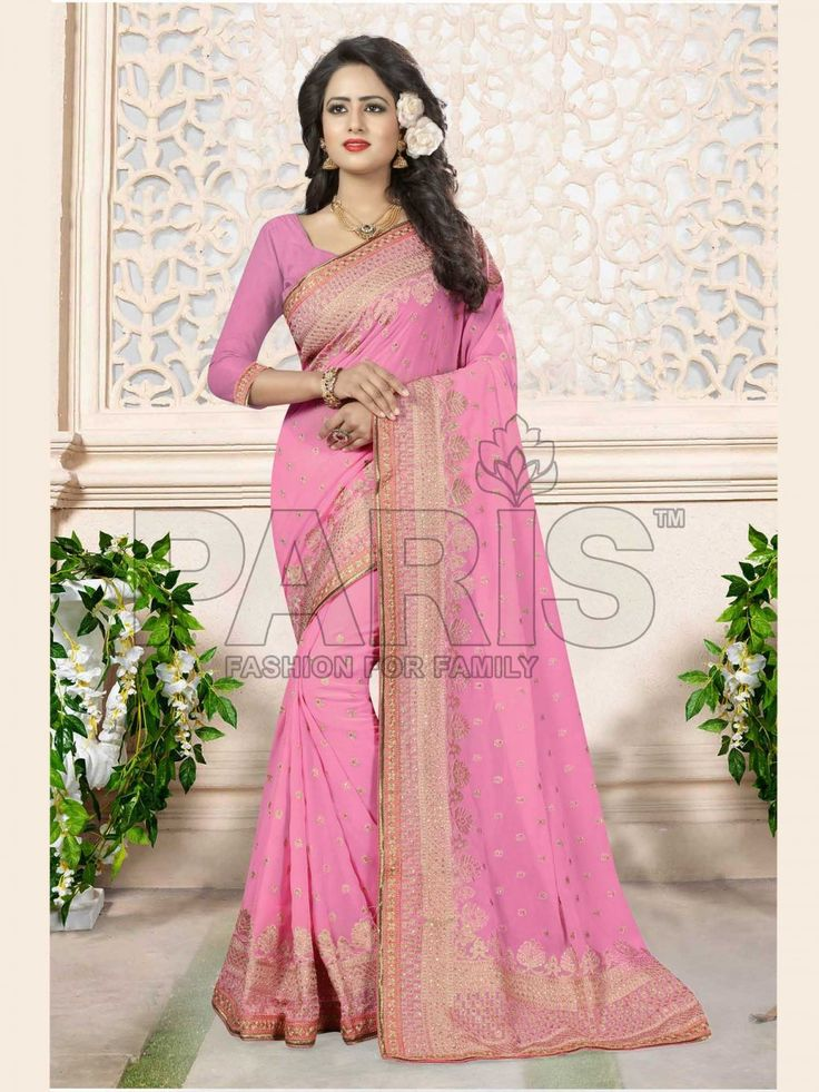 Featuring An Attractive Pattern This Saree Will Catch Every Passing Eye. This Saree Has Embroidered Pattern On All Over The Saree To Make You Look More Beautiful. The Golden Colored Zari Embroidered On The Border That Has Two Side Weaved. The Pink Colored Saree Is Fabricated In Georgette, While The Blouse Is Made Of Georgette Fabric. This Classy Saree Specially For You.  Blouse Can Be Customize up to size 42.