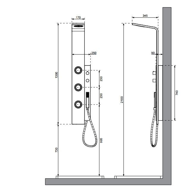 Columna de ducha de pared termostática con ducha DUE by Systempool