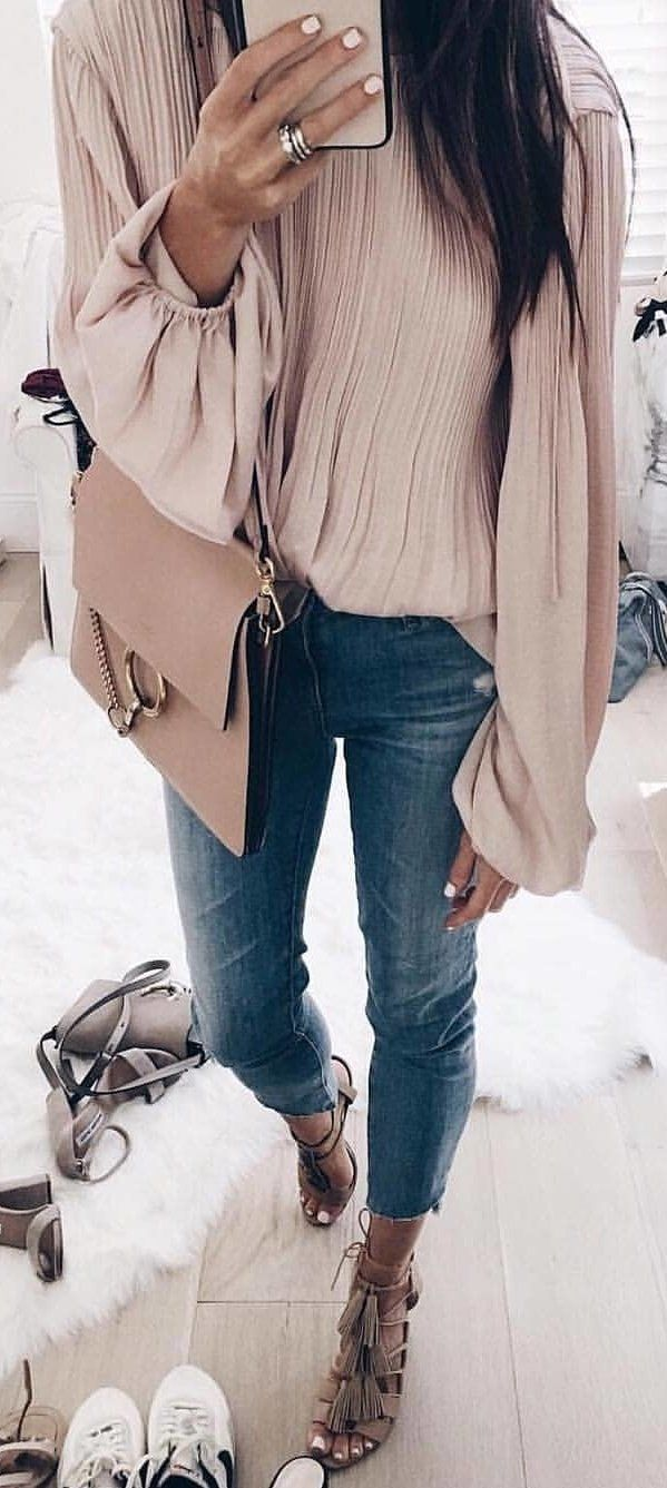 #winter #outfits gray long-sleeve top and blue jeans outfit