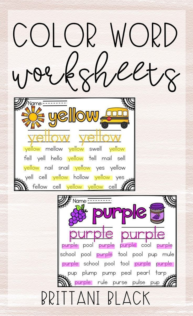 Are Your Students Learning Color Words These Printables Are A Great Way To Have Identify The Words Color Word Activities First Year Teaching Teaching Grade [ 1202 x 736 Pixel ]