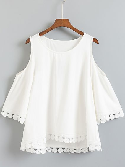 White Dip Hem Cold Shoulder Embroidery Blouse Mobile Site