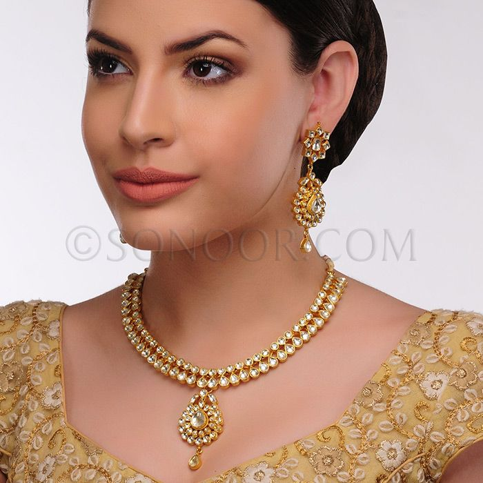NEC/1/3444 Minika Necklace Set with Earrings in dull gold finish studded with kundan stones $278
