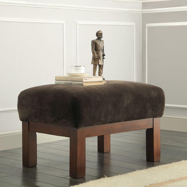 Hills Mission-style Oak Ottoman by iNSPIRE Q Classic (Dark Brown Fabric)