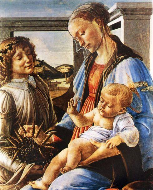 Мадонна с младенцем и ангелом (Мадонна евхаристии). Сандро Боттичелли. 1471 г. Музей Изабеллы Стюарт Гарднер.