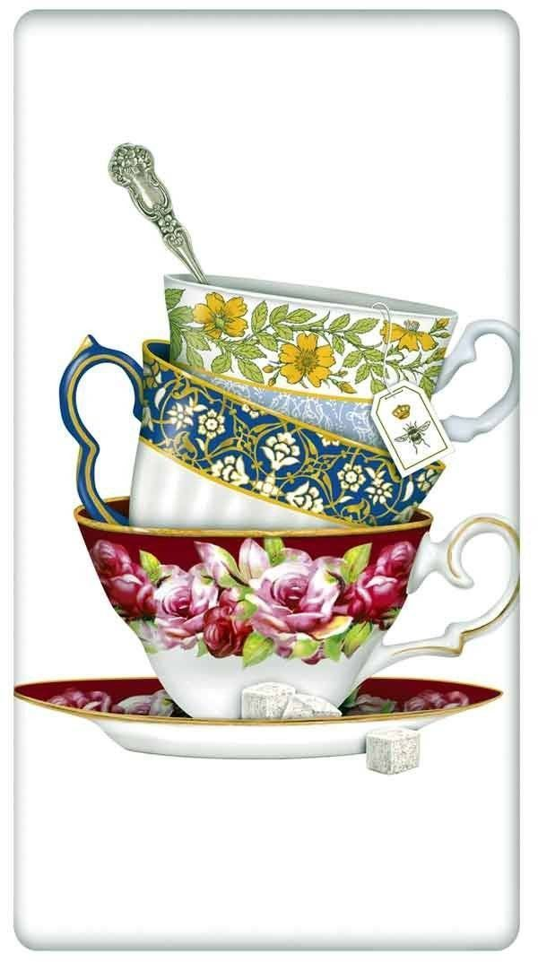 Victorian Floral Teacups 100% Cotton Flour Sack Dish Towel Tea Towel