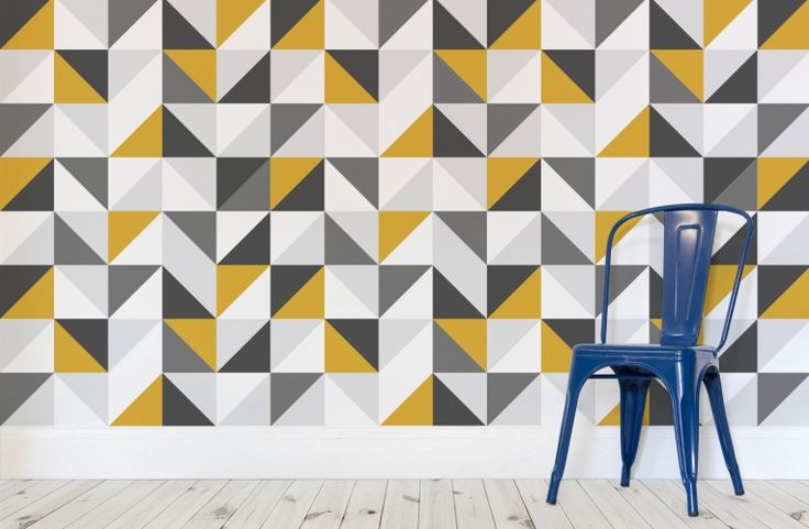 Yellow and Grey Abstract Geometric Wallpaper
