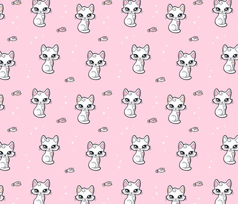 Cute Cuddly Kitty Cat fabric by nossisel on Spoonflower - custom fabric