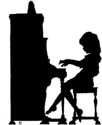 Girl playing piano silhouette
