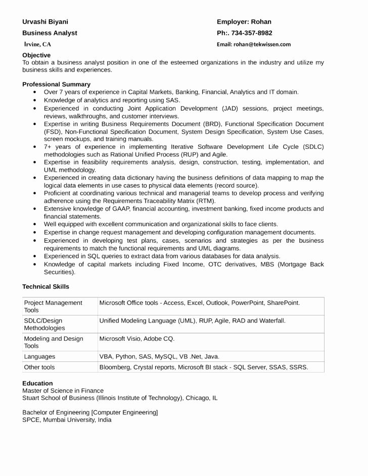 Business Analyst Resume Indeed Inspirational Business Analyst Capital Markets Resume In 2020