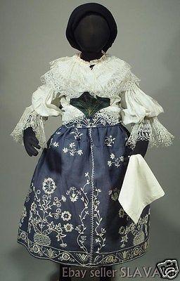 CZECH-FOLK-COSTUME-girls-kroj-Policka-Bohemian-embroidered-apron-blouse-skirt