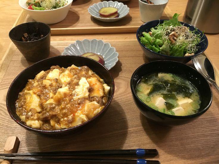 2/28 晩御飯 #麻婆豆腐丼 #味噌汁 #さつまいも煮 #ひじき煮 #サラダ