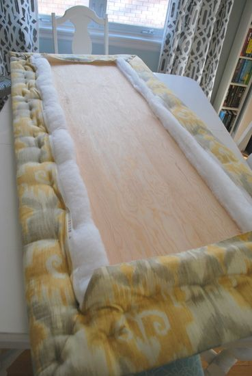DIY Upholstered Headboard Micah's bed. Make Gray to match bed skirt.