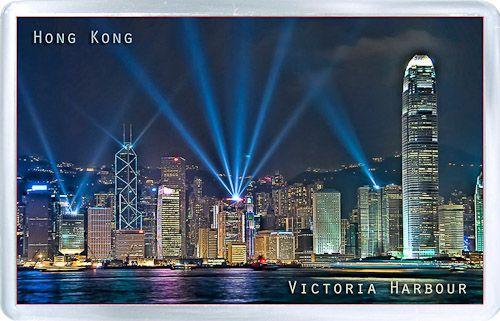 Acrylic Fridge Magnet: Hong Kong. Symphony of Lights. Victoria Harbour