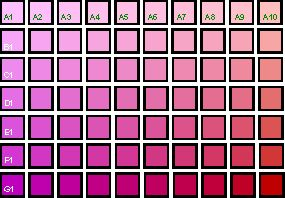 Magenta to Red color chart - unsaturated