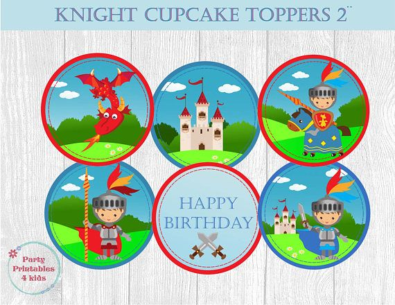 Knights Cupcake Toppers Knight Birthday Tags Knights Circle