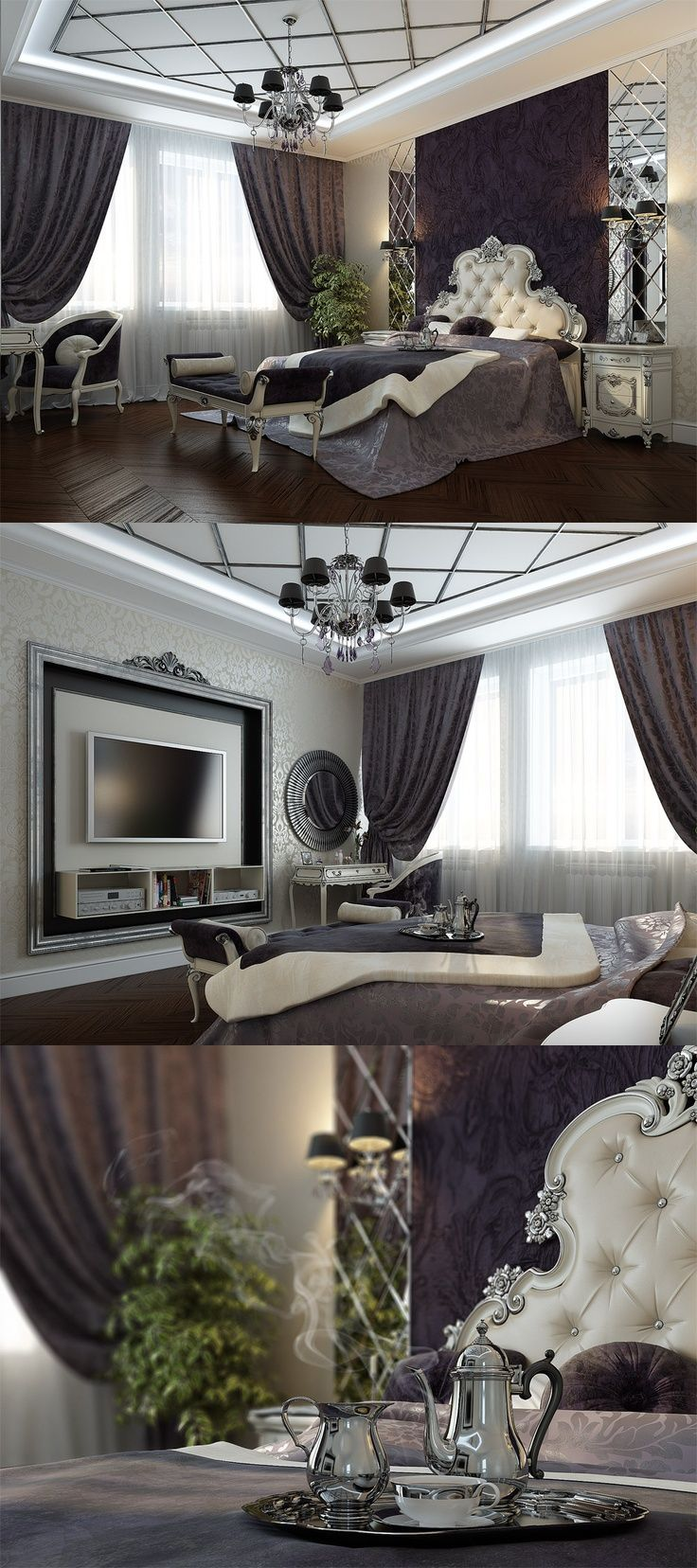 .glam bedroom. I think a straight, tufted headboard would fit with this look better. Gorgeous textures & colors | Home Decor