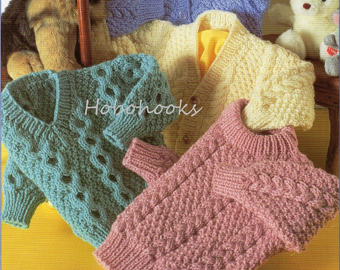 Baby / childs / childrens aran sweaters in 4 styles  18 to 28