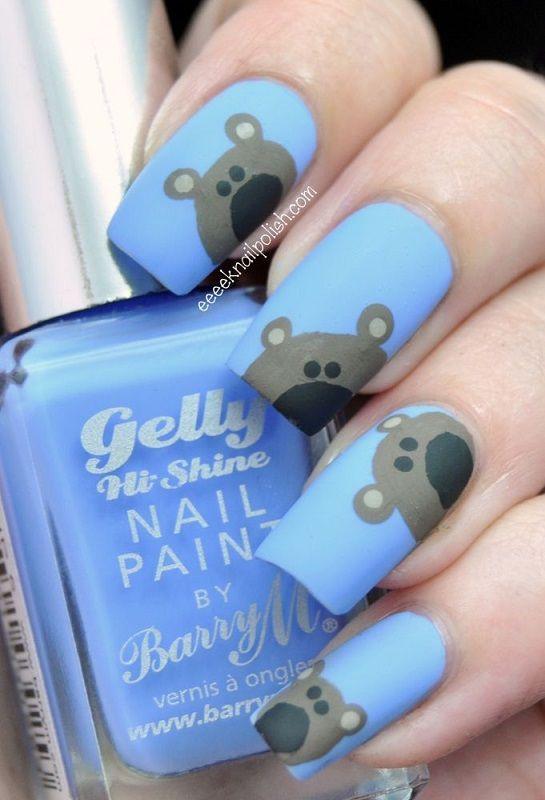 Uñas decoradas en azul con osoitos - Blue nails with bears