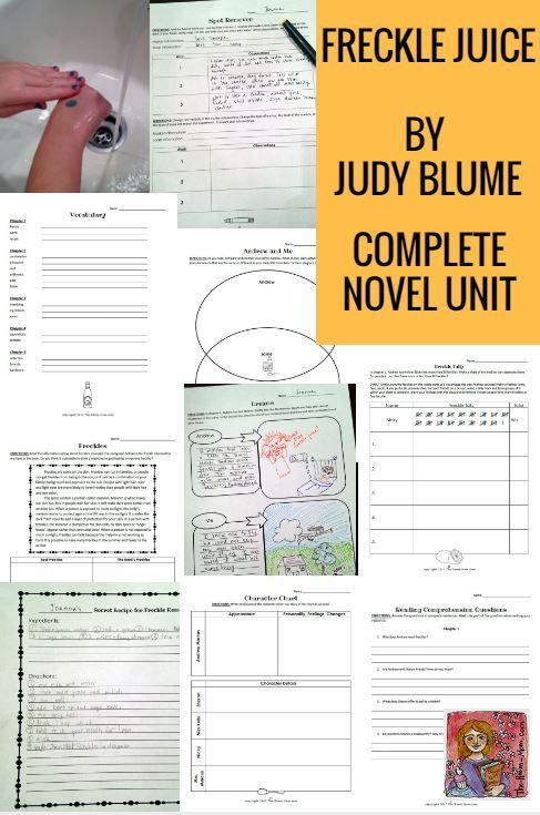 Freckle Juice by Judy Blume complete novel unit great for reading groups or literature circles, grades 2-4, reading comprehension activities and science and math enrichment activities (counting freckles using tally marks and science observation to wash away marker with soap and water), grades 2-4