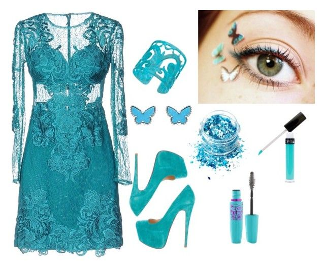 """Blue Butterfly"" by mysticrosehill on Polyvore featuring Forever Unique, In Your Dreams, Christian Louboutin, Volum, Van Cleef & Arpels and Lisa August"