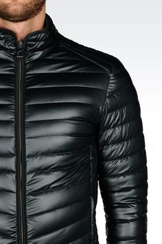 Emporio Armani Men Down Coat - DOWN JACKET IN LEATHER EFFECT TECHNICAL FABRIC