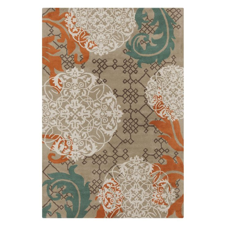Chandra Stella Patterned Contemporary Wool Beige Aqua Area: Chandra Stella STE52207 Indoor Area Rug