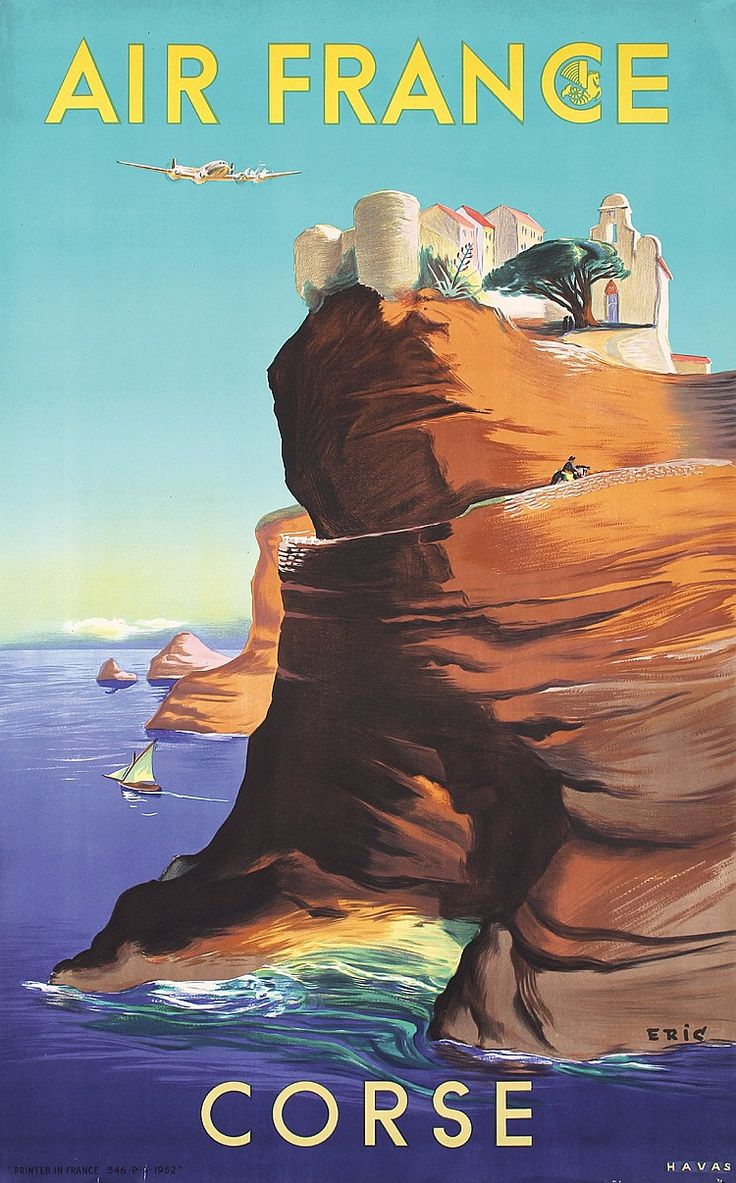 Original 1950s Air France Travel Poster CORSICA - by PosterConnection Inc.