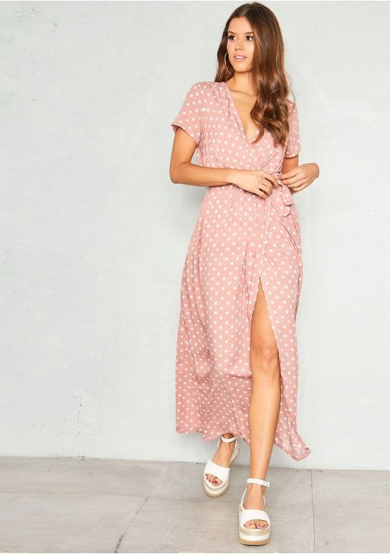 9a3a670f381 Our Hannah Pink Polkadot Wrap Front Maxi Dress is an ultimate must-have for  summer girl. Featuring a black material with a white polka dot print