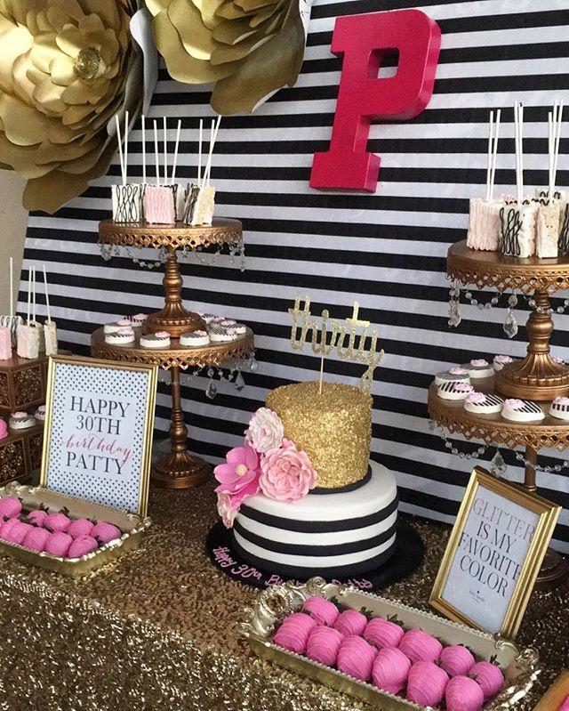 Cute Kate Spade inspired dessert and cake table @platinumcandybuffets #desserts #cake #katespade #birthday #30thbirthday #cakepops #pinkandgold #katespadetheme